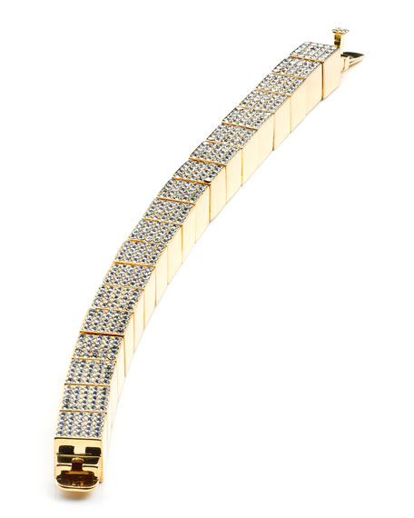 Pave Cube Bracelet, Yellow Gold