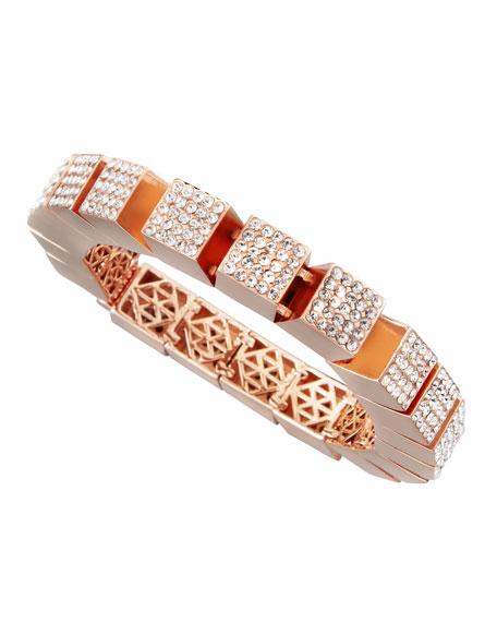 Pave Cube Bracelet, Rose Gold