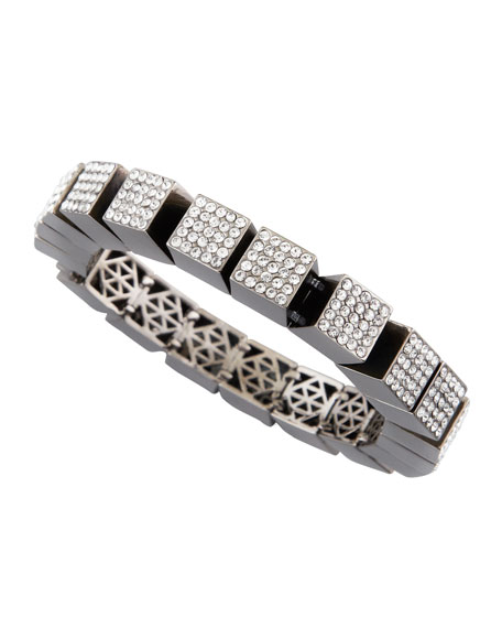 Pave Cube Bracelet, Gunmetal