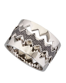 Eddie Borgo Bear-Trap Bangle Set, Gunmetal Pave