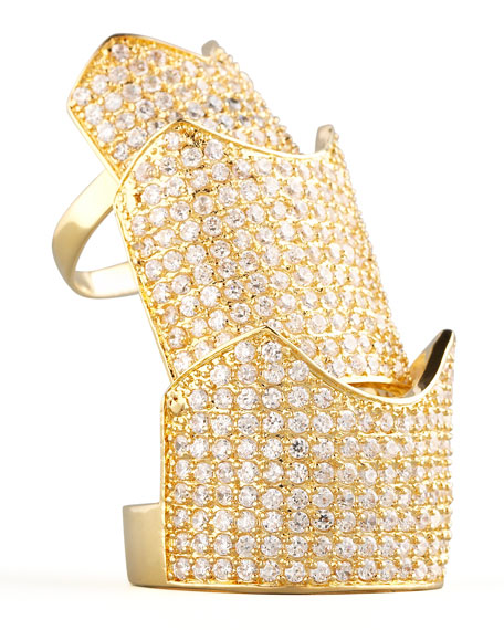 Pave Crystal Hinge Ring, Yellow Gold