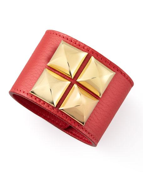 Leather Pyramid Cuff, Ruby