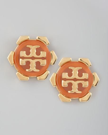 Walter Logo Stud Earrings, Carnelian