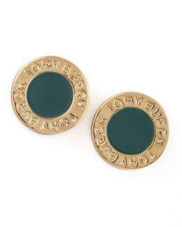 Tory Burch Cole Logo Stud Earrings, Green