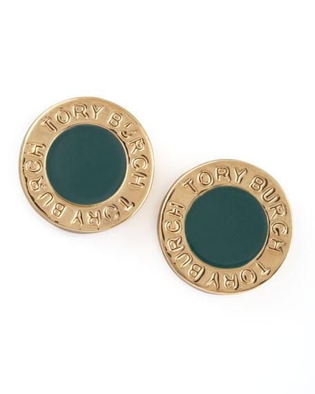 Cole Logo Stud Earrings, Green