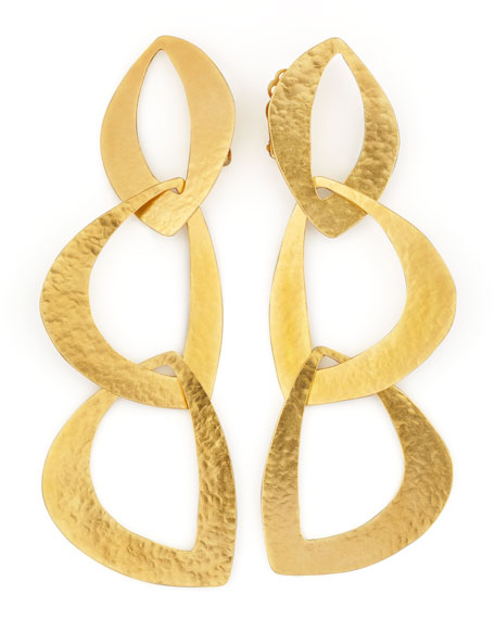 Linked Leaf Clip Earrings