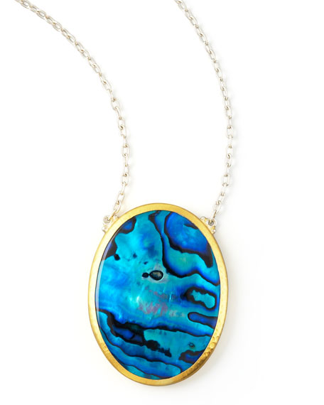 Blue Paua Shell Pendant Necklace