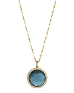 Ippolita 18k Gold Rock Candy Mini Lollipop Diamond Necklace in London Blue Topaz
