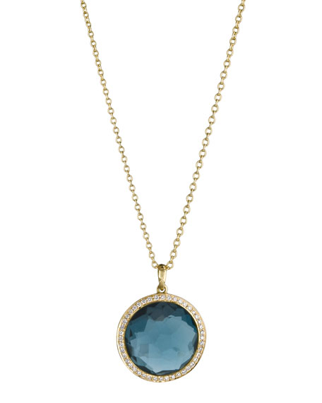 18k Gold Rock Candy Mini Lollipop Diamond Necklace in London Blue Topaz