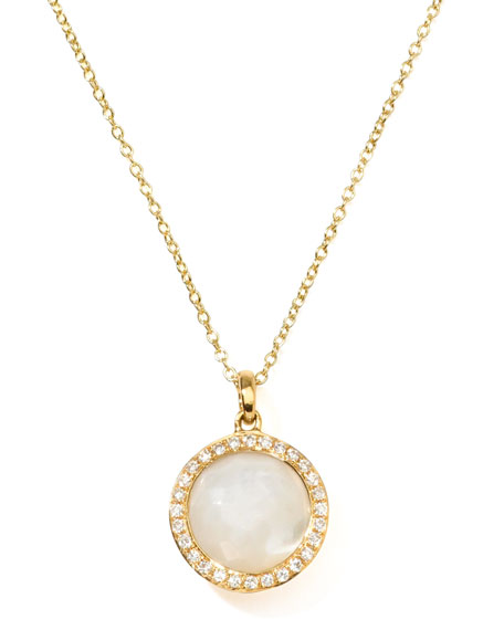 18k Gold Rock Candy Mini Lollipop Diamond Necklace in Mother-of-Pearl