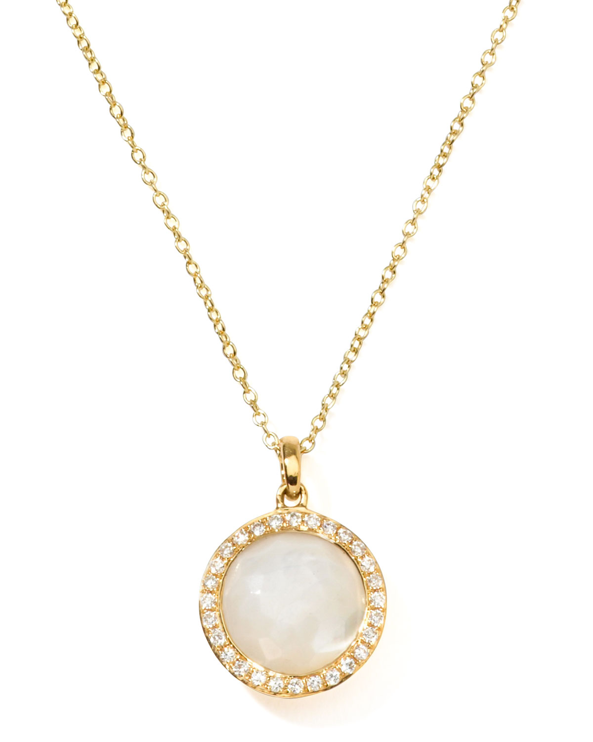 Ippolita 18k Gold Rock Candy Mini Lollipop Diamond Necklace in Mother-of-Pearl U8VGgxHS