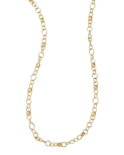Glamazon 18k Gold Classic Link Long Chain Necklace, 33
