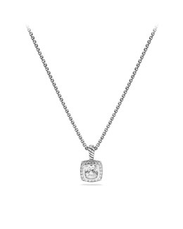 David Yurman Petite Albion Pendant with White Topaz and Diamonds on Chain