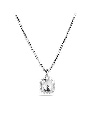 David Yurman Noblesse Pendant with White Topaz and Diamonds on Chain