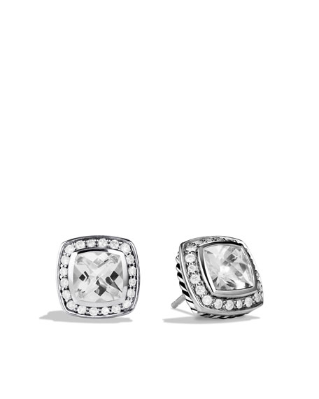 Image 1 of 2: Petite Albion Earrings with White Topaz and Diamonds