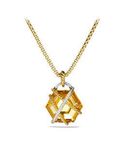 David Yurman Cable Wrap Pendant with Champagne Citrine and Diamonds in Gold