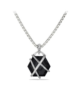 David Yurman Cable Wrap Pendant with Black Onyx and Diamonds
