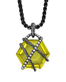 David Yurman Cable Wrap Pendant with Lemon Citrine and Diamonds