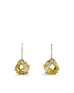 David Yurman Cable Wrap Drop Earrings with Champagne Citrine and Diamonds in Gold