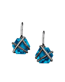 David Yurman Cable Wrap Drop Earrings with Blue Topaz and Diamonds