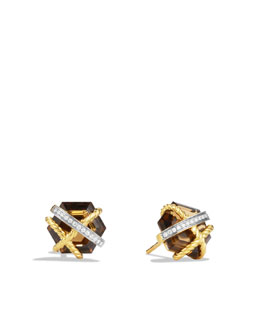 David Yurman Cable Wrap Earrings with Cinnamon Quartz and Diamonds in Gold