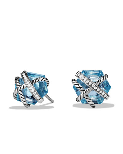 David Yurman Cable Wrap Earrings with Blue Topaz
