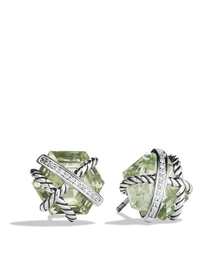 Cable Wrap Earrings with Prasiolite and Diamonds