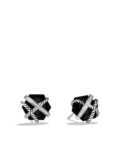 David Yurman Cable Wrap Earrings with Black Onyx and Diamonds