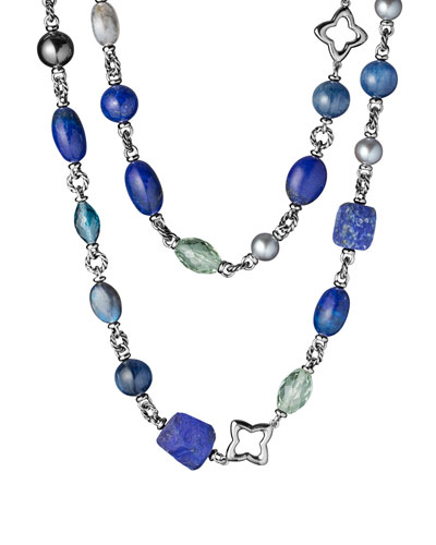 David Yurman Bead Necklace with Gray Pearls and Lapis Lazuli