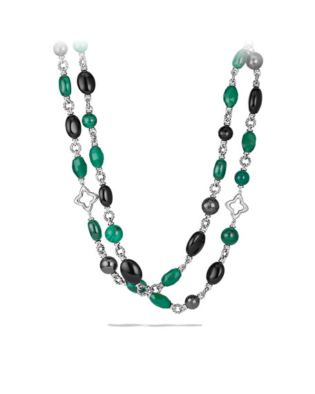 Bead Necklace with Black Onyx and Green Onyx