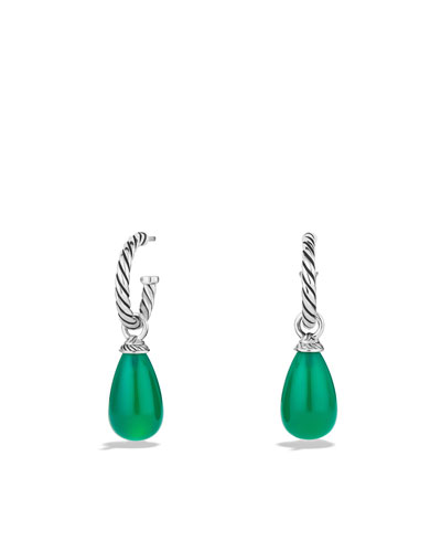 David Yurman Color Classics Bead Drop Earrings with Green Onyx