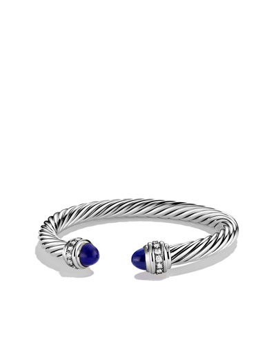 David Yurman Cable Classics Bracelet with Lapis Lazuli and Diamonds