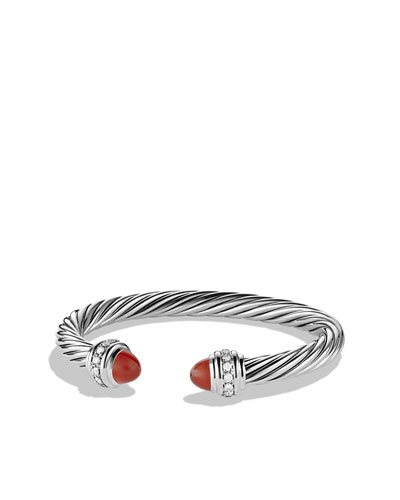 David Yurman Cable Classics Bracelet with Carnelian and Diamonds