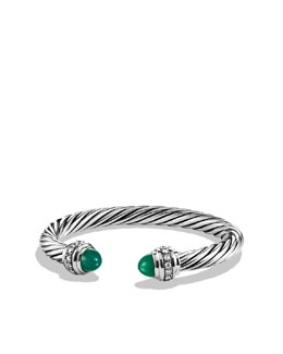 David Yurman Cable Classics Bracelet with Green Onyx and Diamonds