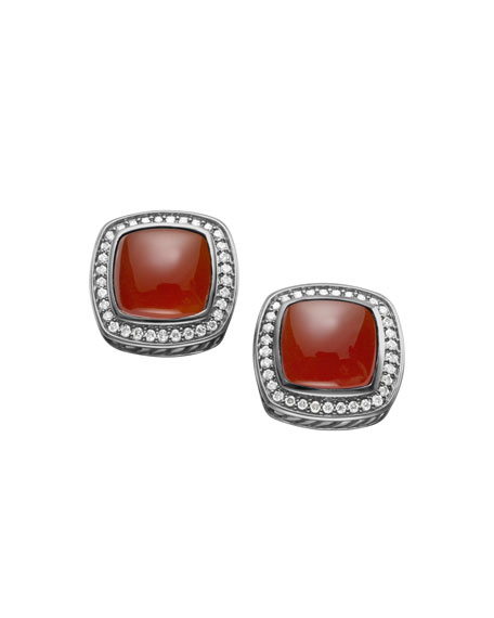 Albion Earrings with Carnelian and Diamonds