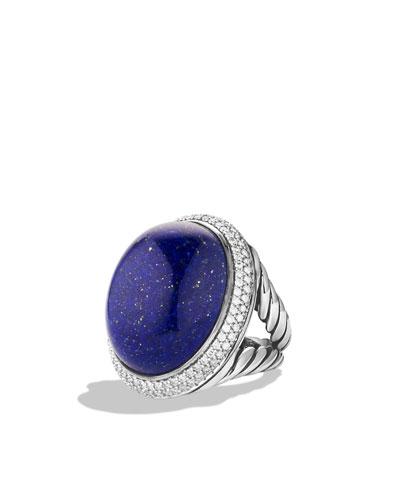 David Yurman DY Signature Oval Ring with Lapis Lazuli and Diamonds