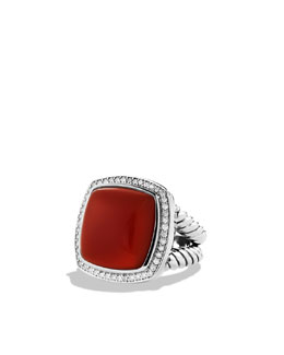 David Yurman Albion Ring with Carnelian and Diamonds