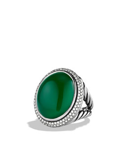 David Yurman DY Signature Oval Ring with Green Onyx and Diamonds
