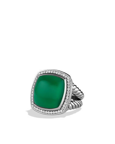 David Yurman Albion Ring with Green Onyx and Diamonds