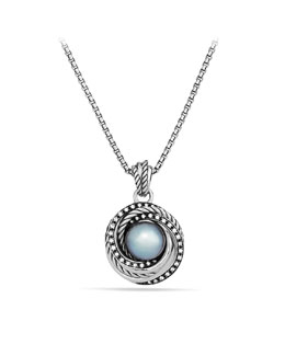 David Yurman Pearl Crossover Pendant with Diamonds on Chain