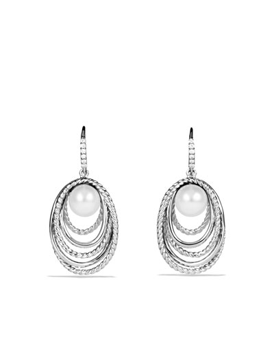 David Yurman Pearl Crossover Drop Earrings with Diamonds