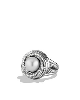 David Yurman Pearl Crossover Ring with Diamonds