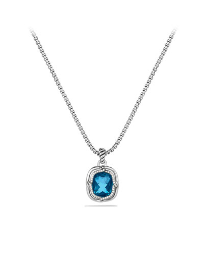 David Yurman Labyrinth Small Pendant with Blue Topaz and Diamonds