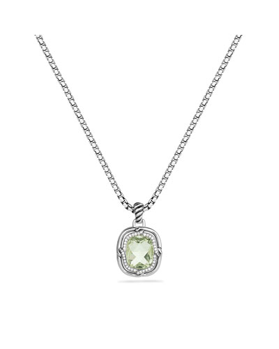 Labyrinth Small Pendant with Prasiolite and Diamonds