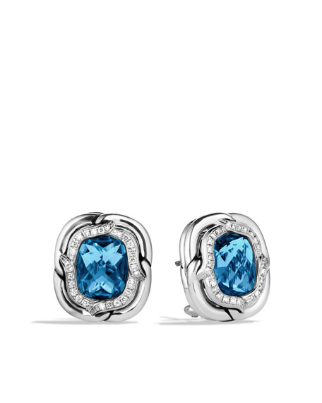 Labyrinth Earrings with Blue Topaz and Diamonds