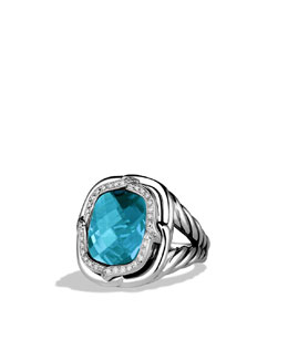 David Yurman Labyrinth Ring with Blue Topaz and Diamonds