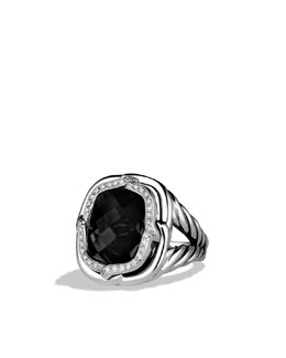 David Yurman Labyrinth Ring with Black Onyx and Diamonds