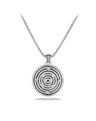 Labyrinth Small Disc Pendant with Diamonds