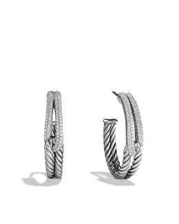 David Yurman Labyrinth Hoop Earrings with Diamonds
