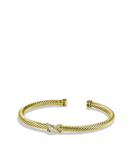 David Yurman X Bracelet with Diamonds in Gold